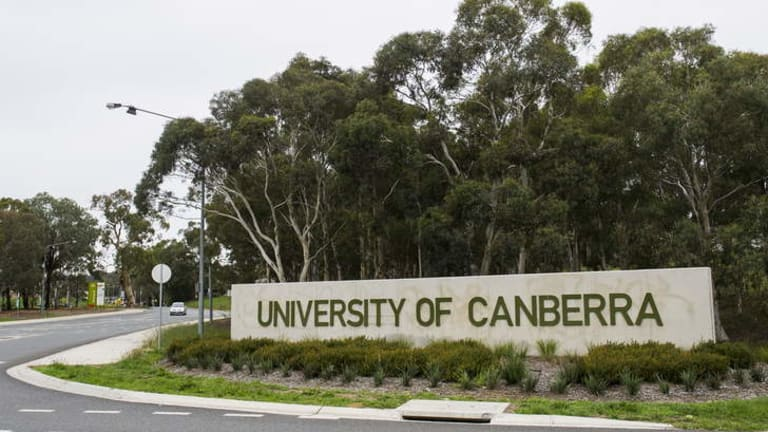 One of the entrances to the 120-hectare University of Canberra campus.