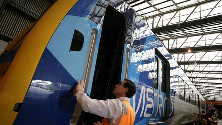 A train gets the Metro Trains rebadge last week.