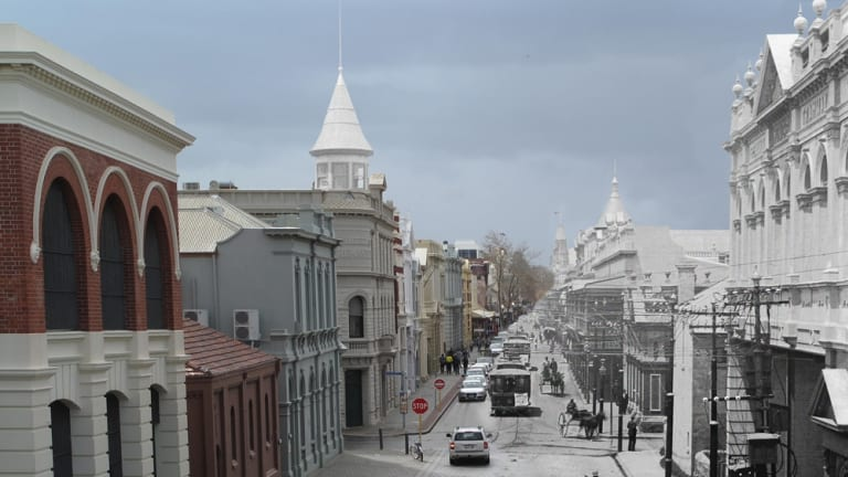 Photographic Negative - Glass Current Fremantle High St (left) contrasted to how it would have looked in the boom time (right). The west end is currently under consideration to be included in the state's heritage register.