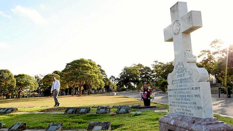 Burial choices: The grave of Charles O'Neill in the pauper's area of the Catholic section at Rookwood cemetery.