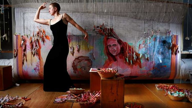 Lily Fish performing a dance for her Melbourne Fringe Festival show at the Australian Tapestry Workshop in South Melbourne.