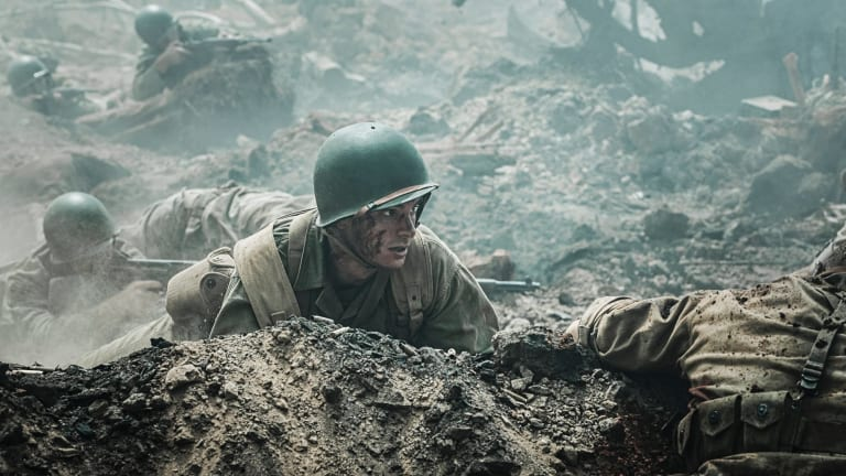 Andrew Garfield in <i>Hacksaw Ridge</i> which claimed awards for cinematographry, editing, production design and sound.