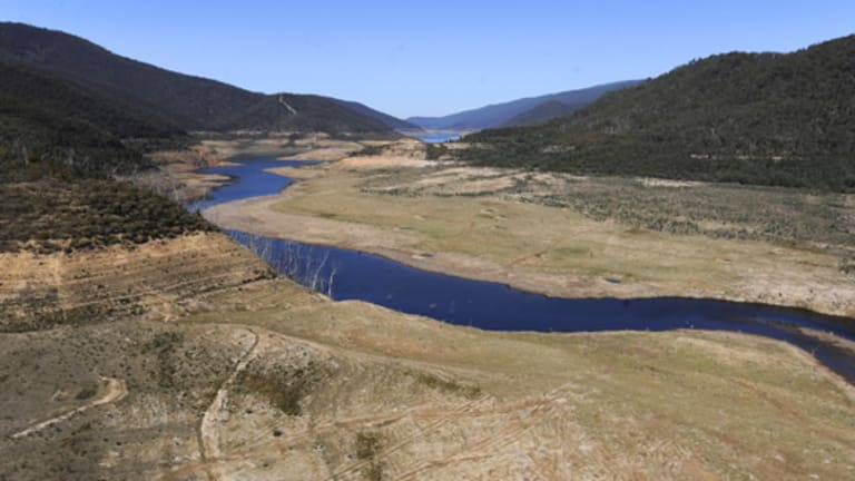 The Thomson Dam this week. It is so depleted that the  course of the Thomson River is now exposed. There is just enough water in Melbourne's nine main dams to supply the city  for about 500 days.