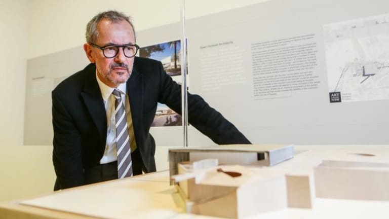 Michael Brand: Director of the Art Gallery with one of the designs.