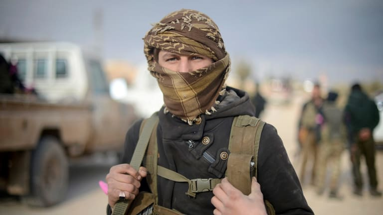 """A FSA fighter during the 171th day of the """"Operation Euphrates Shield"""" in Aleppo on Thursday."""