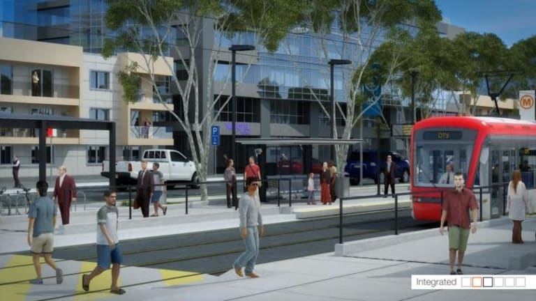 Artist's impression of the proposed Capital Metro light rail.