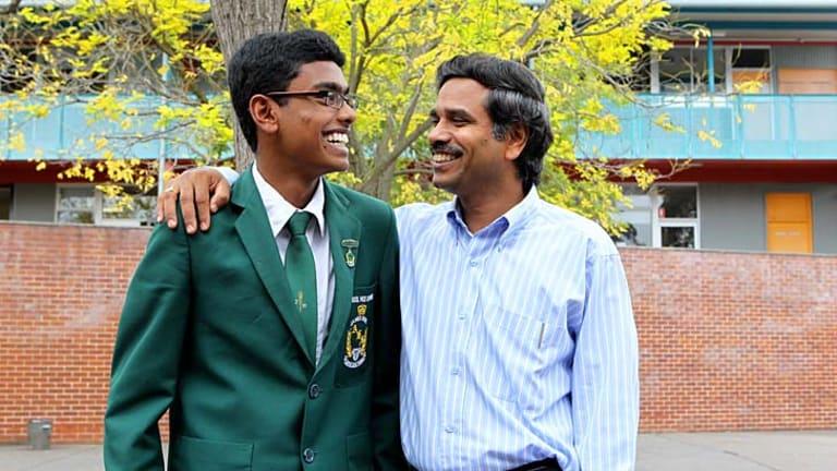 Nothing fancy: Para Parameshwaran and son Kajanan, 17, at James Ruse Agricultural High.