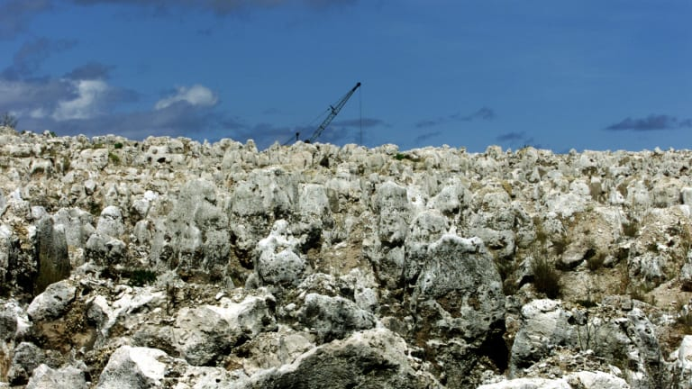Phosphate mining in Nauru has left an arid landscape.