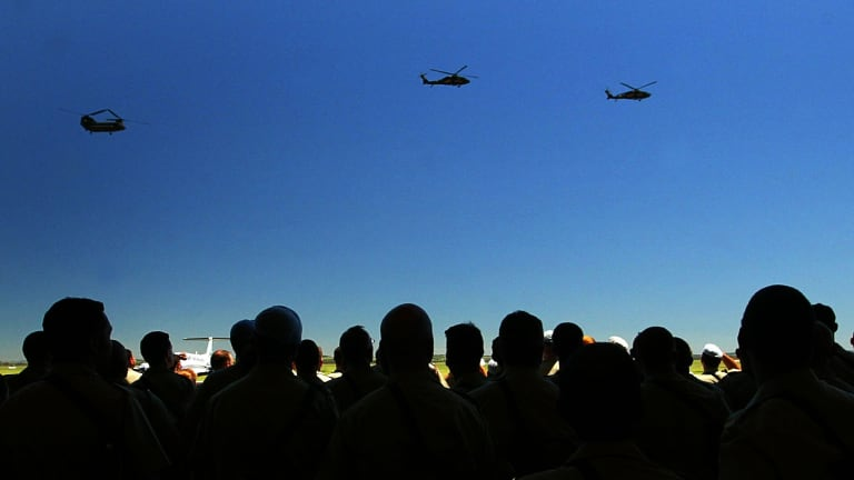 Helicopters arrive at Oakey Army Aviation Centre.