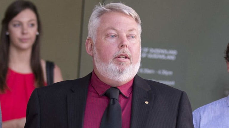 Bruce Morcombe exits Brisbane's Supreme Court after Brett Peter Cowan was found guilty.