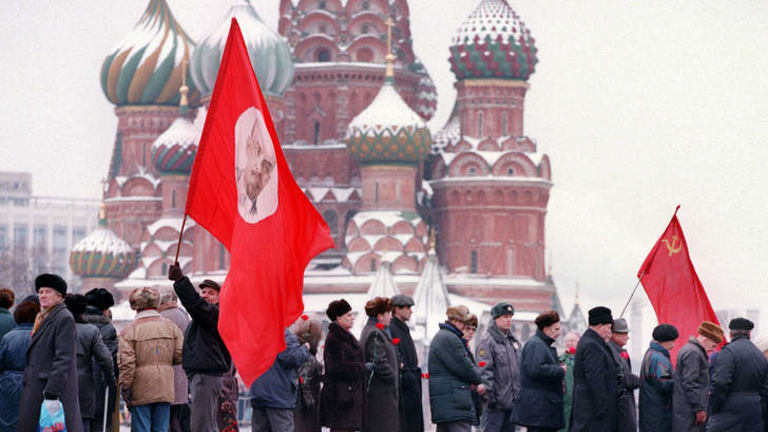 Party faithful in Moscow.