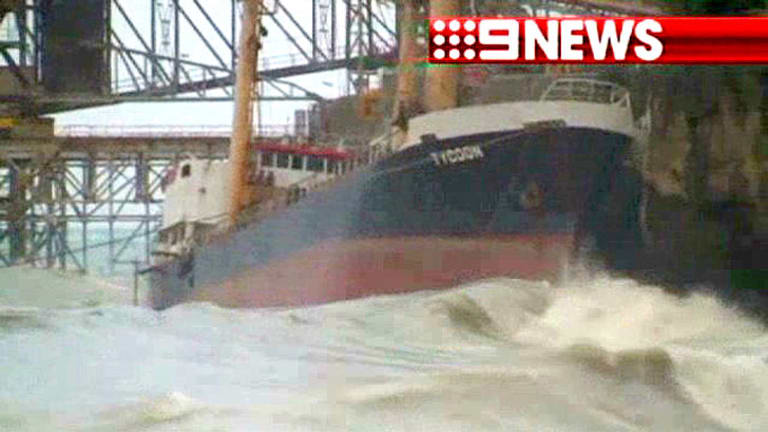 The MV Tycoon in its death throes in the Christmas Island port.