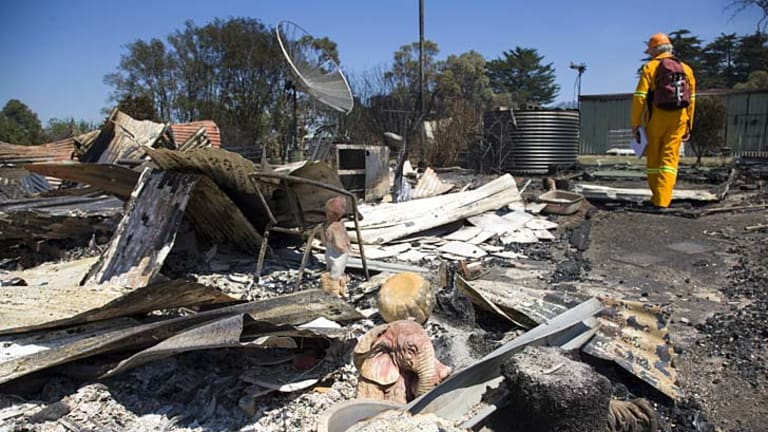 Gutted ... fire has ripped through Dunalley, in Tasmania, destroying about 100 homes.