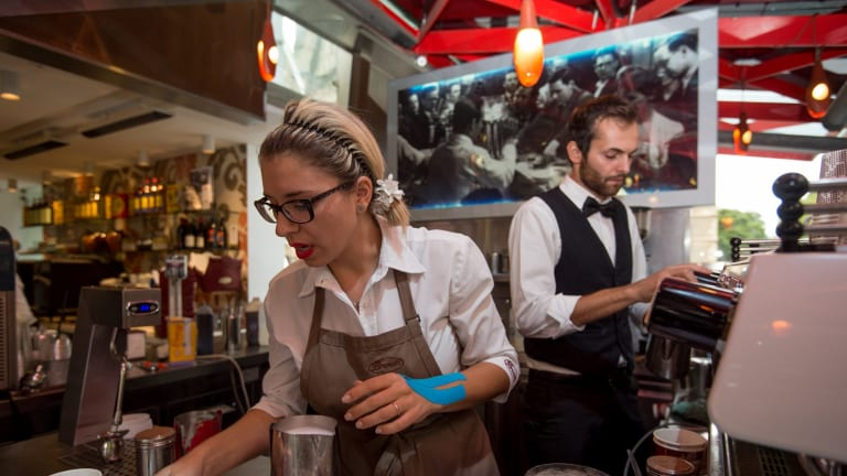City Square Brunetti staff Denise Papale and Valerio Celenza were working when the gang violence erupted around them.
