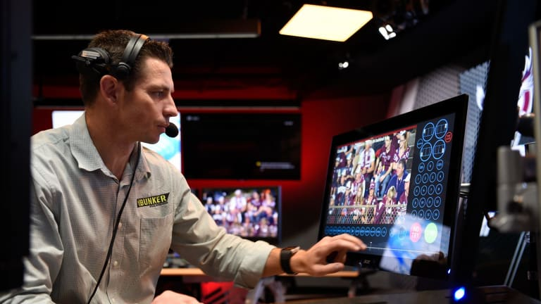 Ground control: Bernard Sutton prepares in the NRL Bunker before the Manly-Parramatta match.
