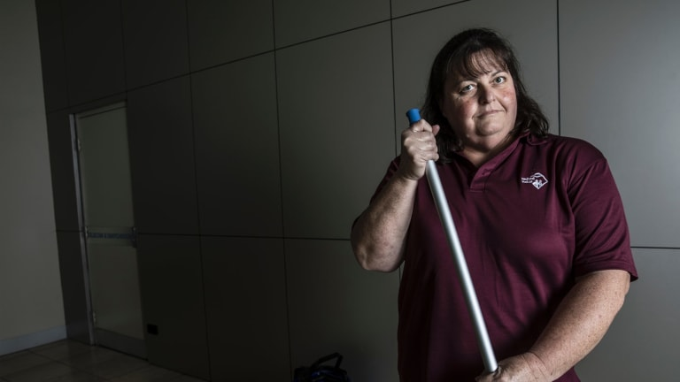 Cleaner Judith Barber is among 7000 NSW school cleaners worried they will be short-changed for the number hours they work under proposals to pay them according to the size of space they clean.