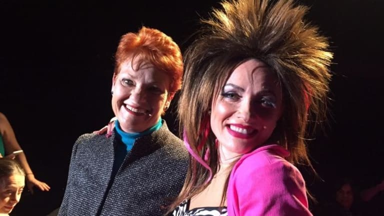 Surprise guest: Pauline Hanson has a hair-raising encounter with Rosa the Russian at the Adelaide Cabaret Festival.