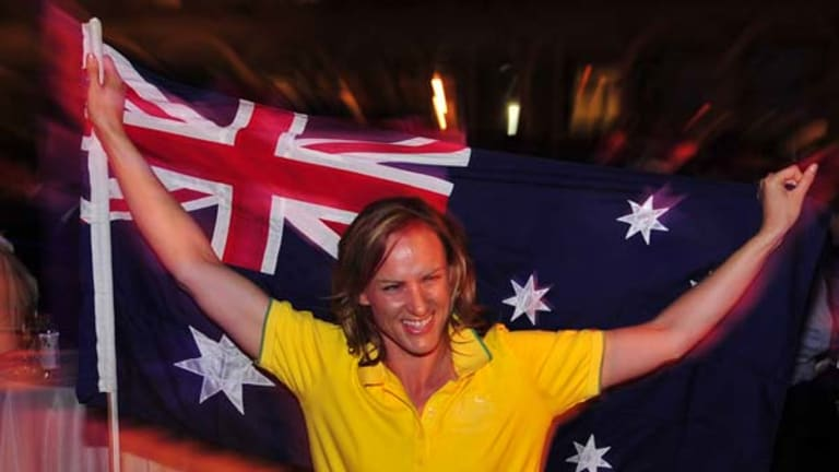 Sharelle McMahon after the announcement that she will carry the flag at the Opening Ceremony.