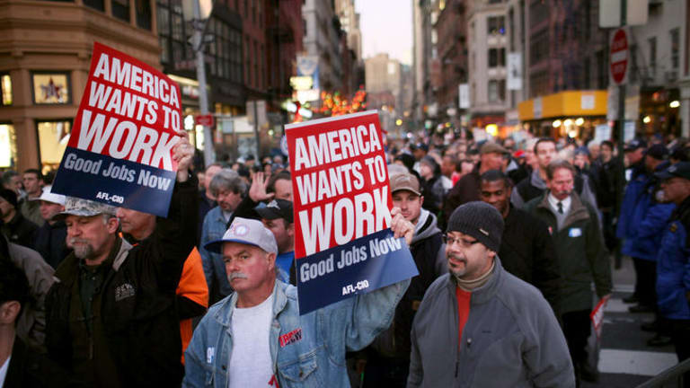"Members of unions and Occupy Wall Street protesters take part in the ""March For Jobs and Fairness"" in New York."