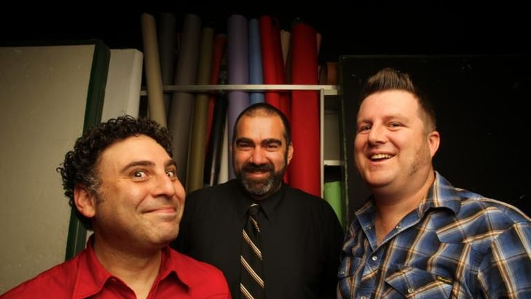 The <i>Boxcutters</i> team, which includes (from left) Josh Kinal, John Richards and Glenn Peters, are the first Australian podcasters to be invited to the South by Southwest convention in Austin, Texas.
