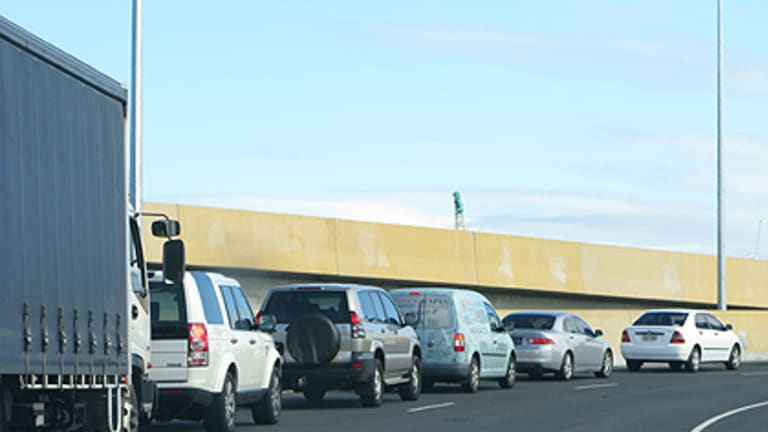 Bumper to bumper ... motorists line up outside the Clem7 this morning.