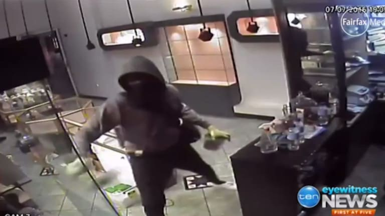 The robbery as caught on CCTV.