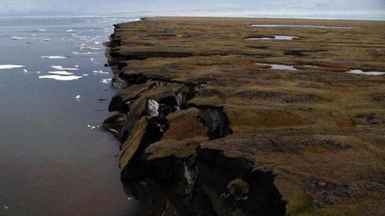 Climate change ... coastal erosion along the Beaufort Sea coastline at Drew Point in Alaska.