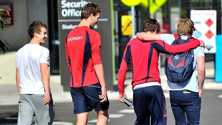 In recovery: Jack Trengove (left), Max Gawn, Cale Morton and Jack Watts.