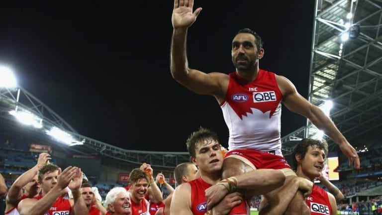 Champion: Adam Goodes will have a shot at his third premiership flag after helping the Swans dispose of North Melbourne to reach the grand final.