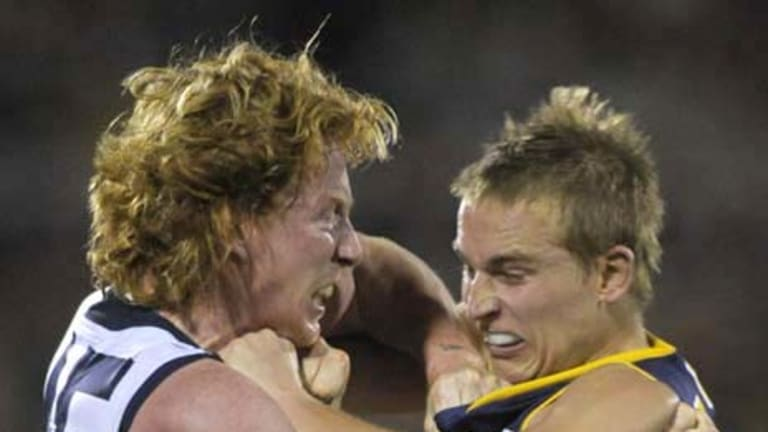 Adelaide's Bernie Vince and Geelong's Cameron Ling scuffle during the second quarter.