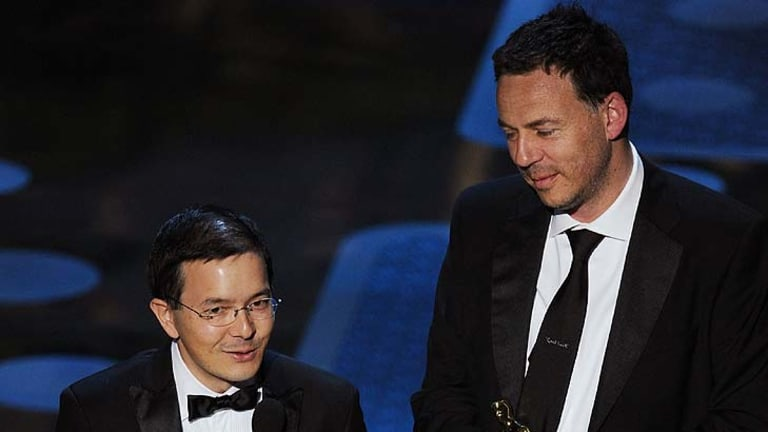 Directors Shaun Tan and Andrew Ruhemann accept the award for Best Animated Short Film for 'The Lost Thing'.