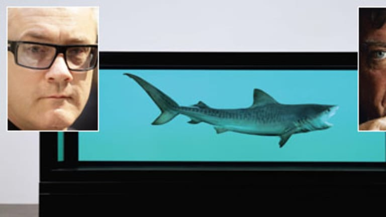 Damien Hirst (left), Robert Hughes and the 'overrated' shark in formaldehyde.