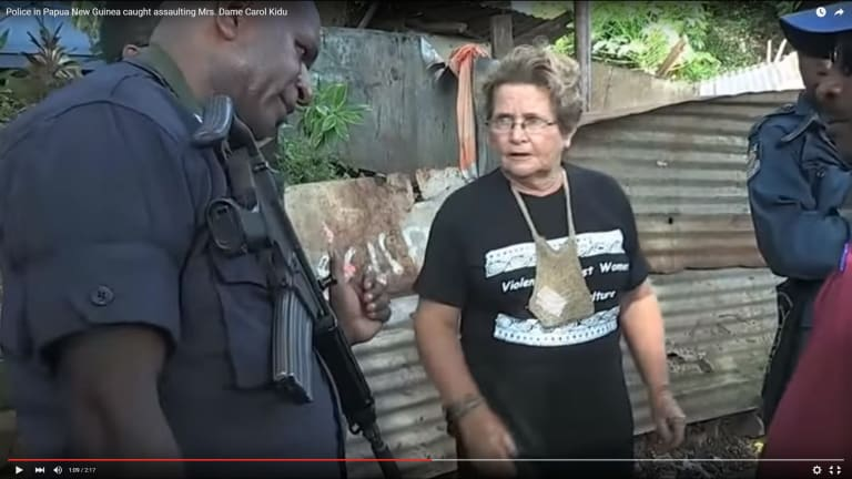 Legal action ... Dame Carol Kidu in a scene from the original version of <i>The Opposition</i>.