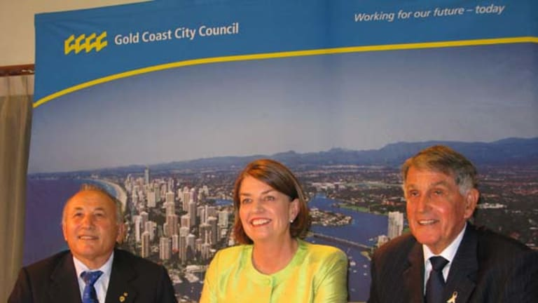 Signing on the dotted line ... Australian Commonwealth Games Association president Sam Coffa, Queensland Premier Anna Bligh and Gold Coast Mayor Ron Clarke.
