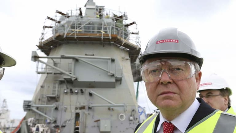 Kevin Rudd tours the BAE shipyard at Williamstown, Melbourne.