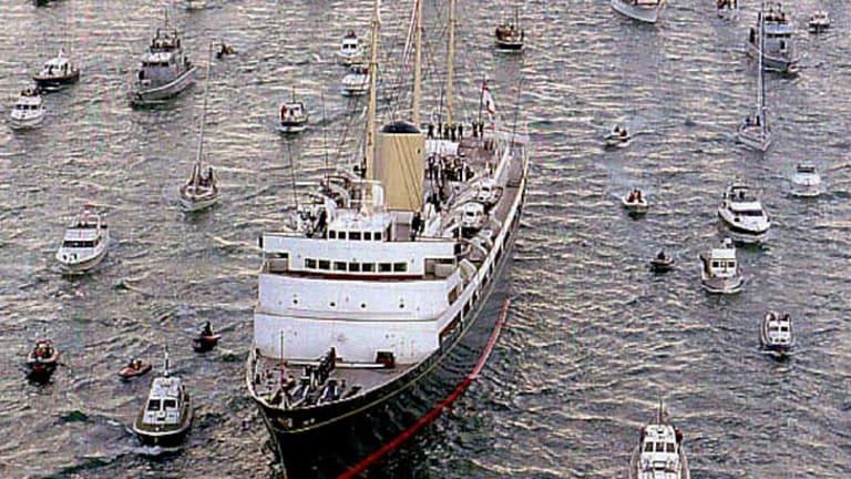The Britannnia's last trip before it was decommissioned in 1997.