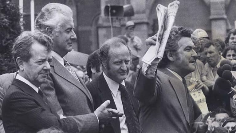 Clyde Holding (centre) at a 1975 ALP rally in Melbourne with then prime minister Gough Whitlam and Bob Hawke.