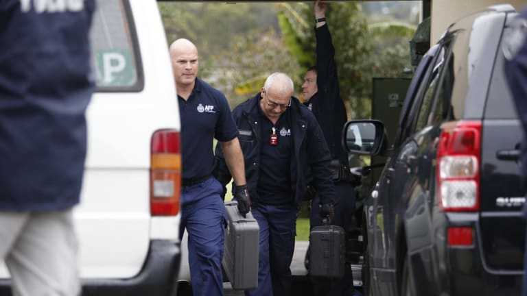 Police at the scene of terror raids in Hallam.