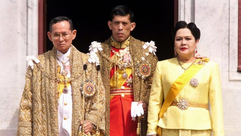 King Bhumibol Adulyadej, Crown Prince Maha Vajiralongkorn and Queen Sirikit in 1999.