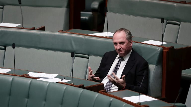 Former Deputy Prime Minister Barnaby Joyce sits on the backbench during debate in the House of Representatives at Parliament House in Canberra last month.