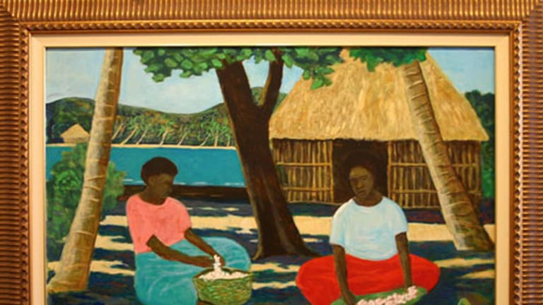 Ray Crooke, 'Fijians with Blossom': see this and other Australian artworks at Significant Other.
