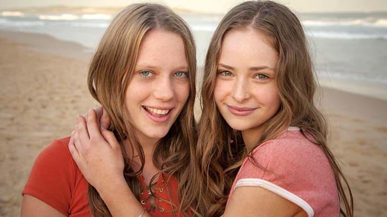 Girl talk ... Brenna Harding and Ashleigh Cummings in <em>Puberty Blues</em>.