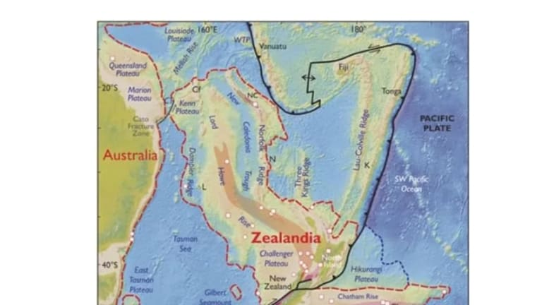 An elevation map of Zealandia and nearby Australia.