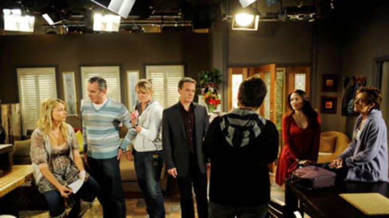 The cast of <em>Neighbours</em> on the Nunawading set recently.