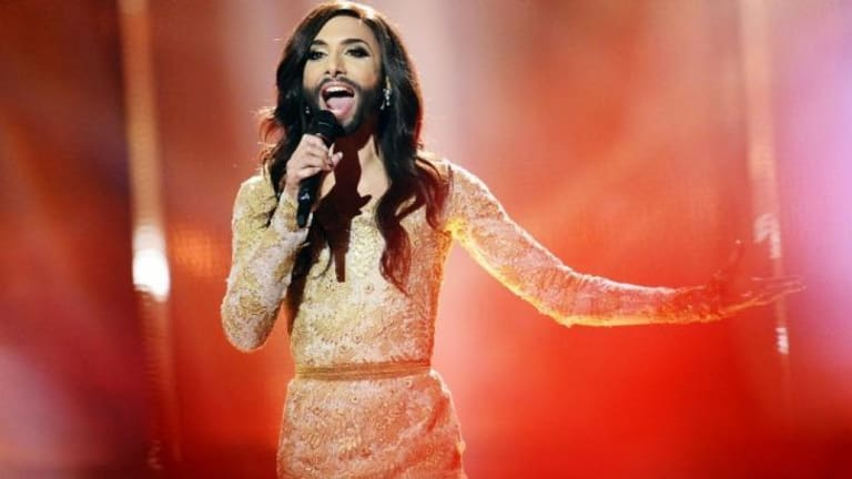 Conchita Wurst representing Austria performs the song <i>Rise Like A Phoenix</i> during the dress rehearsal for the Eurovision Song Contest 2014 Grand Final in Copenhagen.