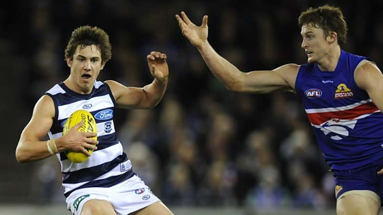 Geelongs Daniel Menzel shows his pace against the Western Bulldogs late last year.