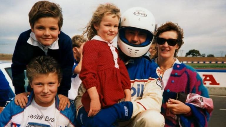 Peter and Bev Brock with their three children trackside in 1988.