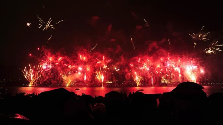 Skyfire 2012 on the shore of Lake Burley Griffin, Canberra.