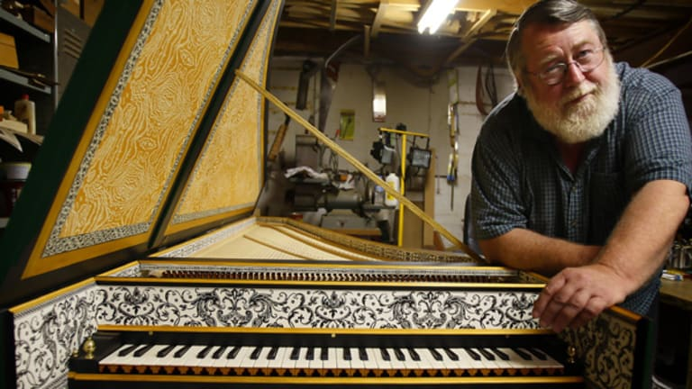 Sweet music: The harpsichord  has captivated Alistair McAllister since the age of 15. This piece, the  copy of a 17th-century gem, has gone to the new $128-million Recital Centre in Southbank. It could be worth about $50,000 on the open market.