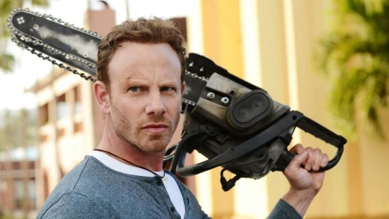Chainsaw reaction: Ian Ziering in <i>Sharknado 3</i>.